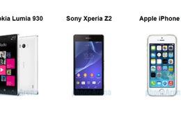 So sánh nhanh Lumia 930, Xperia Z2 và iPhone 5S