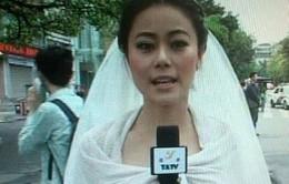 MC Trung Quốc bỏ dở đám cưới để đưa tin động đất