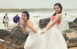 Bảo Anh thẹn thùng mặc váy cưới