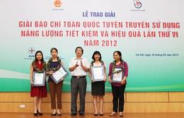 Đài THVN đoạt giải A Giải Báo chí toàn quốc về tiết kiệm năng lượng