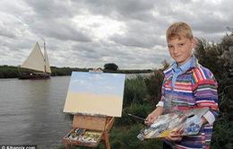 Cậu bé 10 tuổi kiếm bộn tiền nhờ vẽ tranh phong cảnh