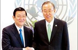 Chủ tịch nước Trương Tấn Sang gặp gỡ Tổng thư ký LHQ