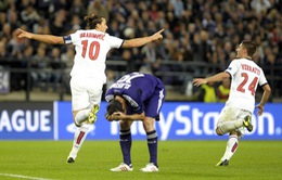 """VIDEO: Ibrahimovic lập cú """"poker"""", PSG đày đoạ Anderlecht"""
