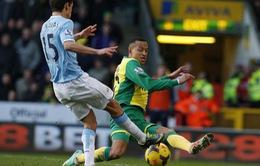 Norwich 0-0 Manchester City: Chia điểm thất vọng (VIDEO)
