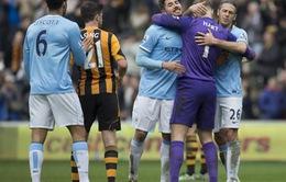 """Hull City 0-2 Man City: Man xanh xoá """"dớp"""" trăm năm không thắng"""