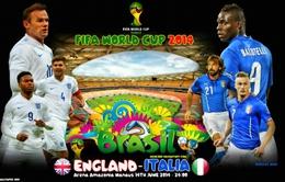 Lịch tường thuật trực tiếp World Cup 2014 ngày 15/6: Chờ đợi kinh điển Anh - Italia