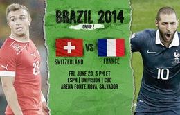 """World Cup 2014 bảng E, Pháp - Thuỵ Sĩ: Ngôi đầu cho """"Gà trống"""" (2h00, 21/6, VTV3)"""