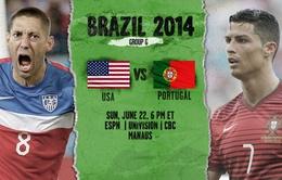 Bảng G World Cup 2014, Bồ Đào Nha - Mỹ: Thế chân tường! (5h00 ngày 23/6, VTV6)