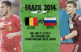 """Bảng F World Cup 2014: """"Gấu Nga"""" thách thức """"Quỷ đỏ"""" (23h00 ngày 22/6, VTV6)"""