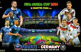 Lịch PHÁT SÓNG World Cup 2014 đêm 4/7 và rạng sáng 5/7: Đại chiến Pháp - Đức, Brazil - Colombia