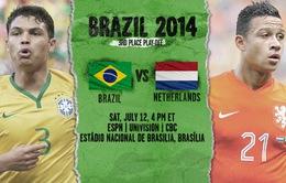 """Brazil - Hà Lan: Nhạt nhòa """"siêu kinh điển"""" Âu - Mỹ! (3h00 ngày 13/7, VTV3)"""