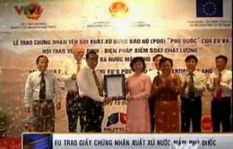 EU trao giấy chứng nhận xuất xứ nước mắm Phú Quốc
