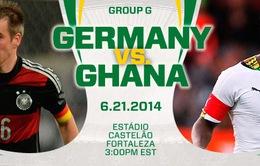 """World Cup, bảng D, Đức – Ghana: """"Cỗ xe tăng Đức"""" thị uy (2h00, 22/6, VTV3)"""