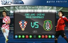 World Cup bảng A: Tâm điểm đại chiến Mexico - Croatia (03h00, 24/6, VTV3)