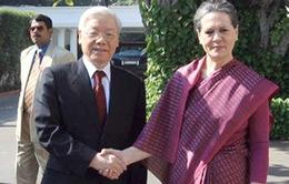 Tổng Bí thư hội kiến Chủ tịch Đảng Quốc đại Ấn Độ
