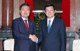 Chủ tịch nước Trương Tấn Sang tiếp Thị trưởng TP Busan