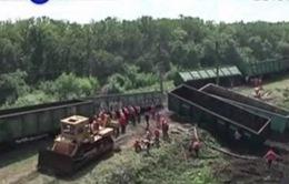 Tàu Nga trật khỏi đường ray ở miền Đông Ukraine