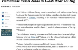 Nhiều báo đưa tin tàu Trung Quốc đâm chìm tàu Việt Nam