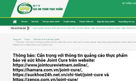 Cẩn trọng thông tin quảng cáo thực phẩm bảo vệ sức khỏe Joint Cure trên một số website