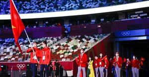 Hình ảnh Đoàn thể thao Việt Nam diễu hành ở lễ khai mạc Olympic Tokyo 2020