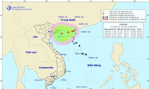 Áp thấp nhiệt đới di chuyển chậm theo hướng Tây Tây Nam