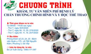 Khám, tư vấn miễn phí bệnh lý chấn thương chỉnh hình và y học thể thao tại TP.HCM