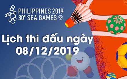 Lịch thi đấu ngày 08/12 của Đoàn Thể thao Việt Nam tại SEA Games 30