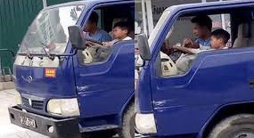 Xử lý chủ ô tô tải biển số Thanh Hóa cho trẻ em điều khiển phương tiện