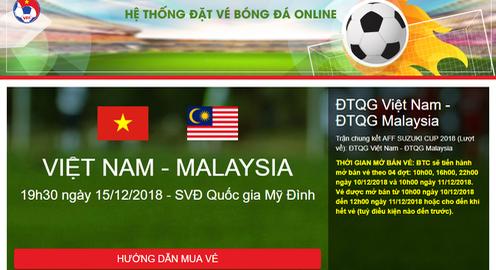 Hôm nay (10/12), mở bán vé online trận chung kết lượt về AFF Cup 2018 giữa Việt Nam - Malaysia
