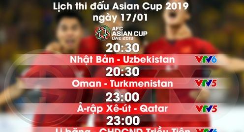 Lịch thi đấu và trực tiếp Asian Cup 2019 ngày 17/01: Đón chờ tin vui cho ĐT Việt Nam