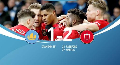 Man City 1-2 Man Utd: Thất bại sân nhà, hụt hơi cuộc đua vô địch