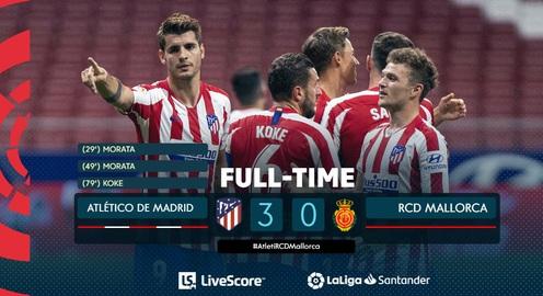 Atletico Madrid 3-0 Mallorca: Thắng ấn tượng, Atletico giữ vững vị trí thứ 3