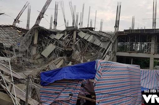 Hiện trường vụ đổ sập công trình trường mầm non Vườn Xanh ở Mỹ Đình