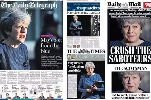 Báo chí Anh chia rẽ vì cuộc tổng tuyển cử sớm của Thủ tướng May