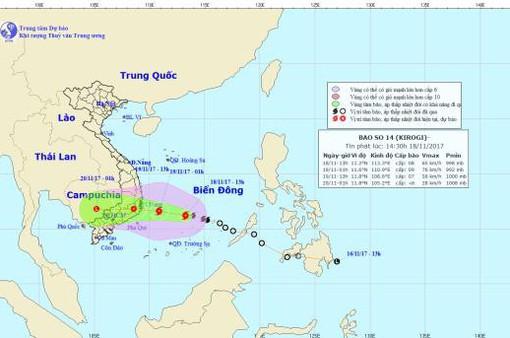 Khoảng sáng đến trưa mai, bão số 14 sẽ đi vào đất liền các tỉnh Khánh Hòa - Bình Thuận