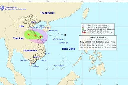 Hoàn lưu bão số 4 bắt đầu gây mưa gió cho các tỉnh Bắc miền Trung