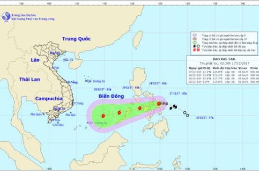 Sức gió mạnh nhất ở vùng gần tâm bão Kai-Tak mạnh cấp 8