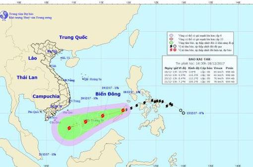 Bão Kai-tak giật cấp 10 vào Biển Đông trở thành cơn bão số 15