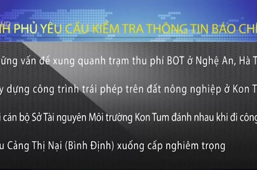 PTTg Trương Hòa Bình chỉ đạo kiểm tra, xử lý thông tin báo chí nêu