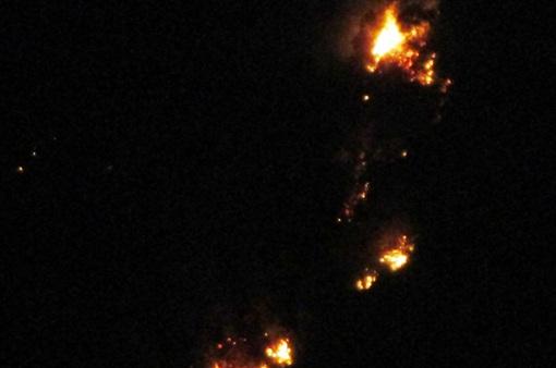 Rừng thông tại Thanh Hóa bốc cháy trong đêm