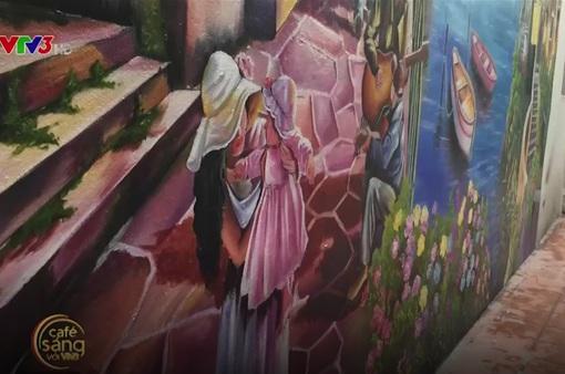 Khu ngõ nhỏ nổi bật với bức tranh tường 3D đầy màu sắc