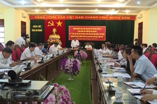 Đoàn khảo sát của Ban chỉ đạo đề án Trung ương 6 làm việc với tỉnh Hà Giang