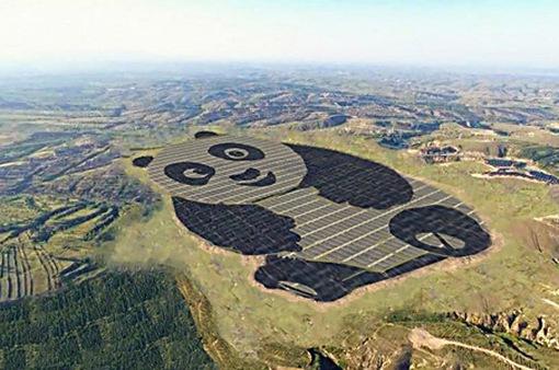 Nhà máy năng lượng Mặt Trời hình gấu trúc tại Trung Quốc