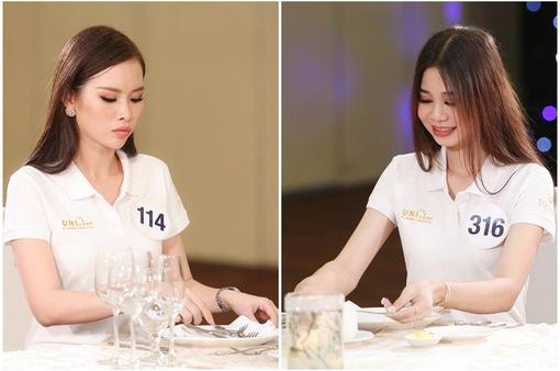 Thí sinh Hoa hậu Hoàn vũ Việt Nam 2017 lúng túng khi học lễ nghi trên bàn ăn