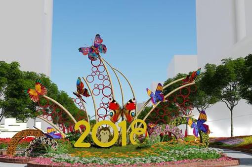 Hé lộ phối cảnh đường hoa Nguyễn Huệ dịp Tết Mậu Tuất 2018