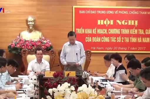 Kiểm tra phòng chống tham nhũng tại Hà Nam
