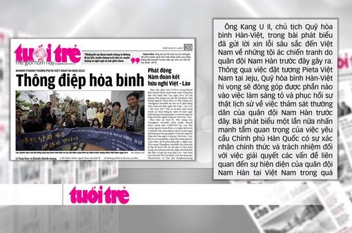 """Khánh thành tượng đài """"Xin lỗi Việt Nam"""" ở Hàn Quốc"""