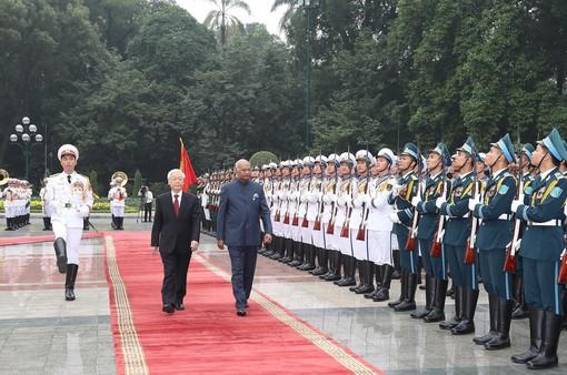 Tổng Bí thư, Chủ tịch nước chủ trì lễ đón Tổng thống Ấn Độ