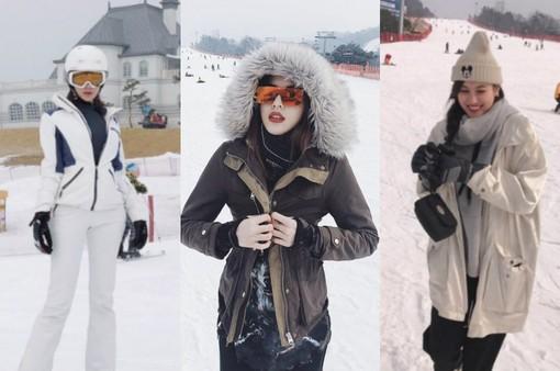 Kỳ Duyên - Diệp Lâm Anh - Hà Lade rủ nhau đi trượt tuyết tại Hàn Quốc