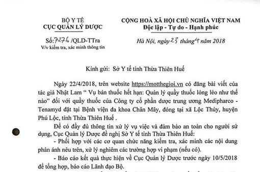 Bộ Y tế yêu cầu kiểm tra thông tin quầy thuốc bán thuốc hết hạn tại Thừa Thiên Huế